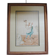 "REDUCED Original Watercolor by Albert Penot, ""French Maid"", CA.1910"