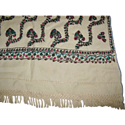 "Rare Antique White ""Paisley"" Shawl, 1880's"