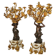 Pair of Fabulous French Figural Candelabra in Bronze, CA.1860