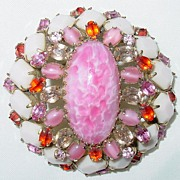Vintage Signed Schreiner New York Pink & White Brooch/Pin...STUNNING!!!
