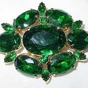 Vintage Large Green Rhinestone Brooch/Pin