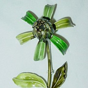 Vintage Large Green Enamel Floral/Flower Brooch Pin