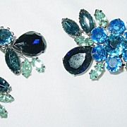 Vintage Blue Rhinestone Brooch/Pin and Clip on Earring Set