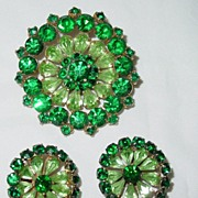 Vintage Large Green/Lime Round Rhinestone Brooch/Pin and Clip on Earring Set