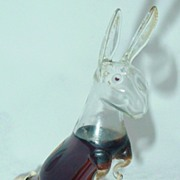 Hand Blown Bols Glass Rabbit Figural Liquor Bottle