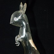 Hand Blown Glass Cat Figural Liquor Bottle by Bols