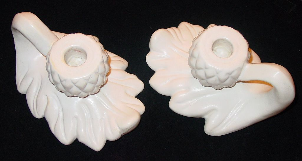 Pair Van Briggle Matte White Acorn & Leaf Candlesticks Candle Holders