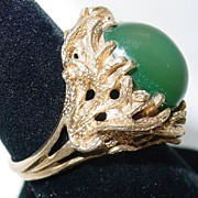 Gorgeous Vintage 14K Gold & Jade Bird's Nest Ring