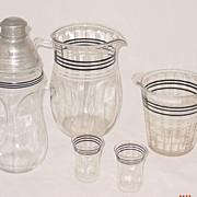 Mid Century Modern Barware Set Including Pitcher/Ice Bucket/Martini/Glasses
