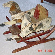 Antique Folk Art Painted Wood Child's Rocking Horse