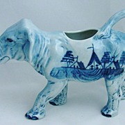 **RARE**  Blue & White Porcelain Hand Painted Elephant Creamer