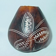 Small Vintage Sirvase Decorated Gourd