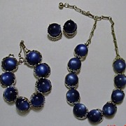 Vintage Blue Coro Moonstone Necklace Earrings Bracelet Set