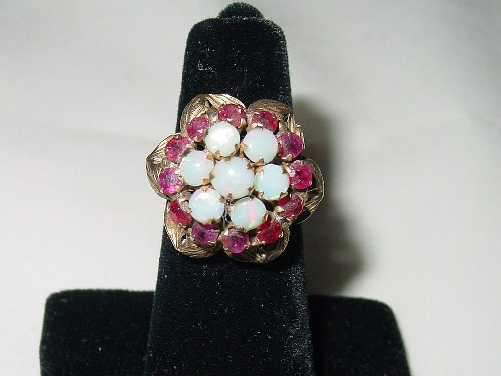 Vintage 14k Gold Opal & Ruby Princess Ring
