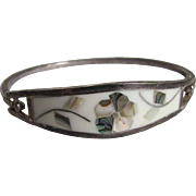 SALE Vintage Mexican Silver & Inlaid Mother of Pearl & Abalone Clamper Bracelet