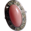 Mid Century Avon Faux Coral & Rhinestone Silvertone Ring- 3 for $30 offer