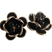 SALE Mid Century Black Lucite Flower Motif Clip Earrings 3 FOR $30 OFFER