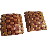 SALE 1970's Braided Leather Square Pierced Earrings 2 for 1 OFFER