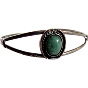 SALE Mid Century Mexican Silver Adventurine Cuff Bracelet