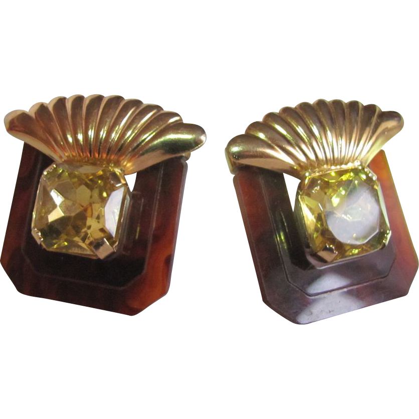 80's Retro Faux Topaz& Lucite Clip Large Scale Earrings 2 for 1 offer