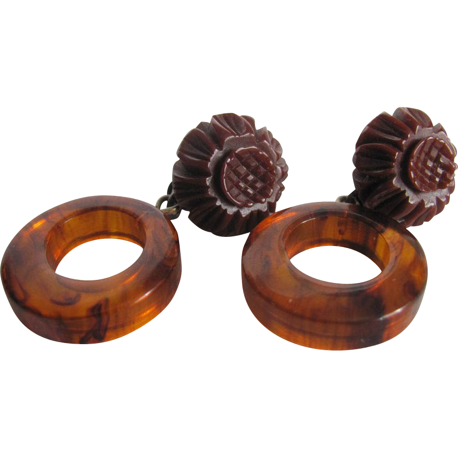 Art Deco Bakelite Brown Carved tops with Tea Prystal Hoops  with Sterling Silver French Clips
