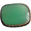 Victorian Faux Chrysoprase Glass Cabochon Brass  Brooch