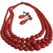 Victorian Mediterranean Triple Strand Sardinian Red Coral Demi Parure/Necklace & Earrings *Certified Gemologist's Appraisal Included*