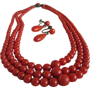 SALE Victorian Mediterranean Triple Strand Sardinian Red Coral Demi Parure/Necklace & Earrings