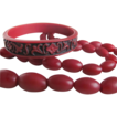 Art Deco Red Wine Galalith Barrel bead necklace with Victorian Gutta Percha Relief Bangle