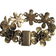 SALE Victorian Gilt Brass Flower Link with Box Clasp