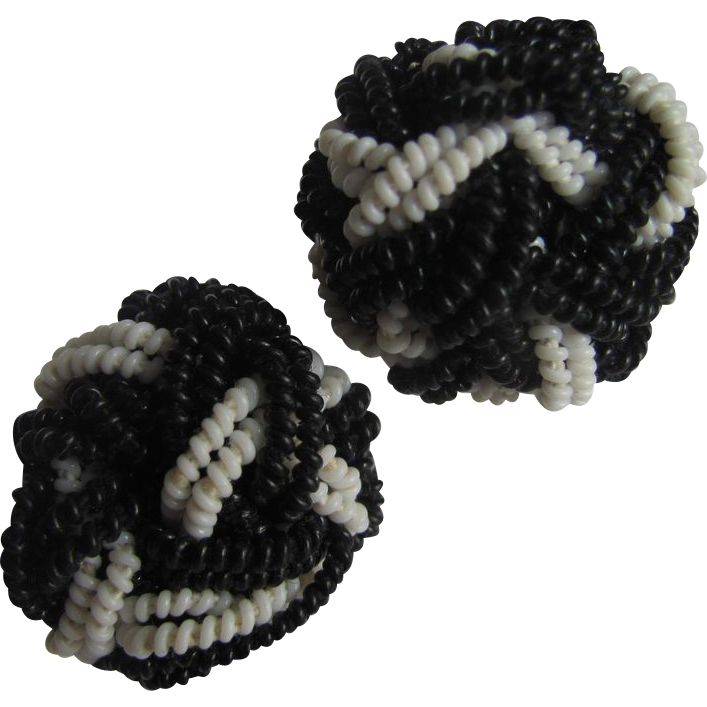 WWII Unsigned Miriam Haskell Black & White  Coil Braided & Knotted Earrings