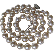 SALE Vintage Glass Faux Knotted Pearl Necklace with Rhinestone Clasp 2 for 1 OFFER