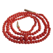 Vintage 9ct Italian Salmon Red Natural Coral Victorian Necklace