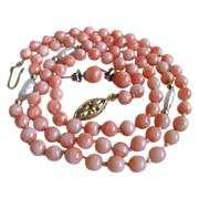 "SALE Vintage Angelskin Coral & Rice Pearl 22"" Necklace with 6mm Earrings"
