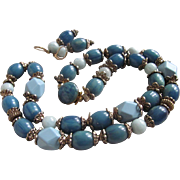 SALE Vintage Blue Bakelite, Aquamarine & Galalith Bead Re Mix Demi Parure
