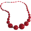 Victorian Genuine Italian Red Coral Graduated with Crystal spacers Necklace