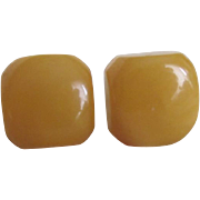 Vintage NOS Bakelite Yellow Square Pierced Earrings 2 for 1 OFFER