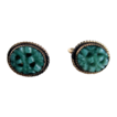 Vintage 1/20th 12KGF Genuine Carved & Pierced Jade Screw Back Earrings