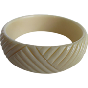 SALE Art Deco Carved French Ivory Celluloid Bangle