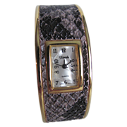 SALE 80's NOS Xanadu Faux Snake Skin Quartz Cuff watch in working order