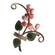 SALE Vintage GP Angel Skin Coral & Jade Rose 2 Stem Bouquet Brooch