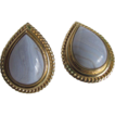 Vintage Blue Lace Agate Pear Cabochon Omega Pierced Earrings