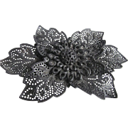 SALE Victorian Gutta Percha Pierced Flower Brooch - Mourning Jewelry