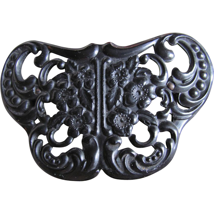 BOOK PIECE VERY RARE Antique Natural Plastic Molded Black GUTTA PERCHA Intricate Butterfly Brooch Very Early