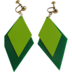 Pop Art 60's Vinyl 2 Tone Green Screwback Earrings 2 FOR 1 OFFER