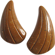 SALE 40's Brown Horn Shaped Carved Bakelite Pierced earrings 2 for 1 offer