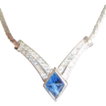 1970's Christian Dior Necklace with center Blue Stone &  Pave Rhinestones