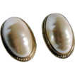 Vintage Givenchy Faux Blister Pearl Large Scale Clip Earrings