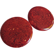 "SALE ART DECO Burgundy Bakelite Disc Pierced Earrings- ""Mars"""