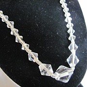 SALE Art Deco Cut Rock Crystal Quartz Gorgeous !!! Graduated Necklace